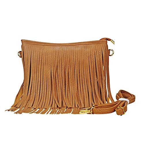 Sibalasi Chic Fringe Crossbody Bag Bohemian Tassel Lightweight Hippie Shoulder bag Double Layers Fringe Small Handbag - Bag Suede Designer