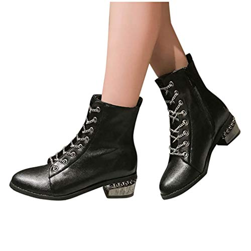 GHrcvdhw Autumn Stylish Zipper Pure Color Round Toe Lacing Boots Chunky Square Heels Vintage Comfort Women Boots Black