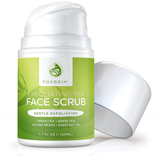 Exfoliating Tea Face Scrub - Natural & Organic - Moisturize While Cleansing and Repairing Skin - With Green & White Tea, Avocado & Olive Butters, and Aloe - Foxbrim 1.7OZ (Caffeine Spray compare prices)