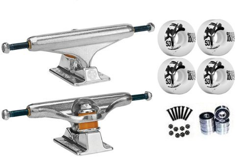 Independent Silver 129mm Truck Package Skateboard Bones 100's Wheels 53mm Abec 7 Bearings