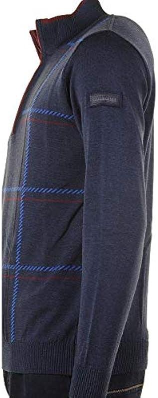 Green Coast Strickware aus Reiner Wolle, 1/4-Reißverschluss, Marineblau: Odzież