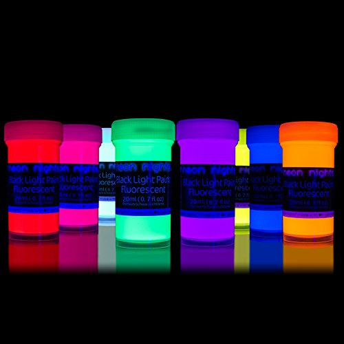 Black Light Paints by neon nights - 8 Fluorescent Wall Paints - Neon Glow Paints for Blacklights, UV Lights - Glowing Neon Paints Handcrafted in Germany