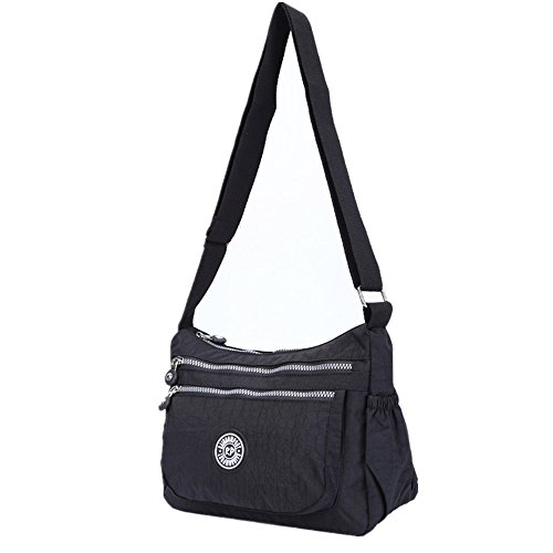 Casual Body Multi Handbag Pocket Black Travel Messenger Cross Bag Bag Womens xwAOdn8w