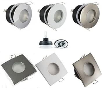 4x luci spot da soffitto impermeabili per bagno e doccia IP44, GU10, montatura tonda o quadrata per uso con LED o alogene Black Chrome (Square) GU10 UKEW