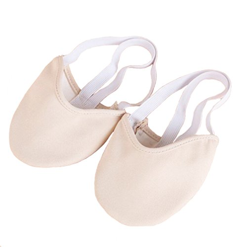 Half Toe Dance Shoe Sole Sock Flat Slipper for Pirouette Ballet Dancers Daily Class Practice and Rhythmic Gymnastic 2 Colors (Beige, S)