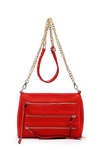 by Chain Mia Zippered Crossbody Farrow Red Strap Handbags Triple Pocket Arlene MKF K Collection Bag qCdaqtvwfH