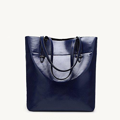 de con para diario capacidad Brown mujer Azul bolsos vertical bolsas Soft trabajo bolsa Flada marino hombro gran PU de de cuero de waS0xnqUz