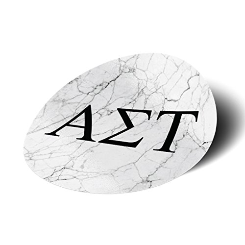 Alpha Sigma Tau Sorority Black and White Marble with Letters Sticker Decal 3 Inch Greek for Window Laptop Computer Car AST Alpha Sigma Tau Merchandise