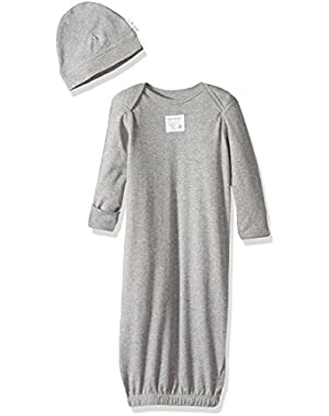 Unisex Baby Solid Lap Shoulder Gown & Cap Set (Baby)-Gray