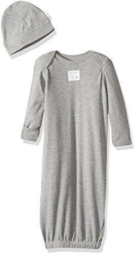 Burt's Bees Baby Bee Essentials Organic Lap Shoulder Gown and Cap Set, Heather Grey, 0-9 (Baby Cap And Gown)