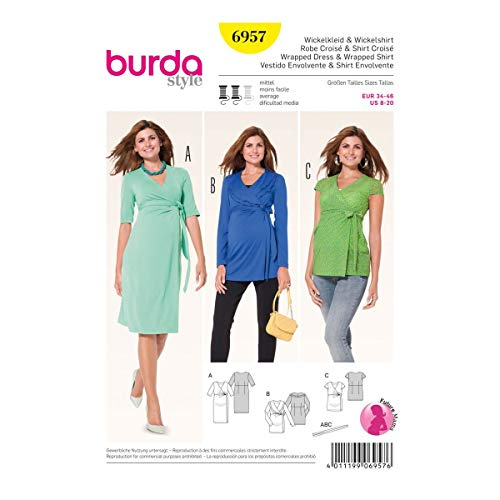 - Burda Sewing Pattern 6957 Maternity Misses Size 8-20 Knit Front Wrap Dress Top Sleeve Options