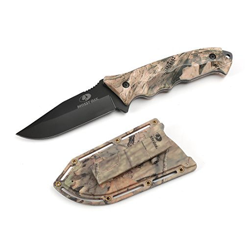 Mossy Oak Fixed Blade Knife Full Tang with 4-1/4 in. Drop Point Blade, Camo Handle for Outdoor Survival Camping and Everyday Carry with ABS Camo Sheath
