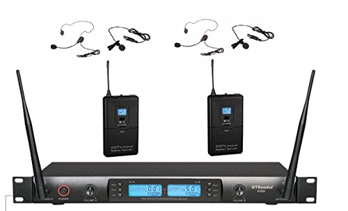 Professional 200 Meters - GTD Audio G-622L UHF 200 Channel Professional Wireless Microphone System (Headset & Lapel Lavalier Mic)