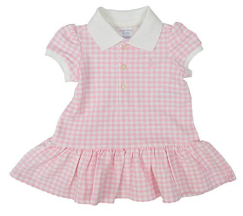 (Ralph Lauren Polo Baby Girls Cotton Two Piece Ruffled Hem Polo Shirt Dress Set, Pink MU)
