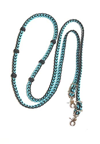 knotted barrel reins neon turquoise adjustable grip knots