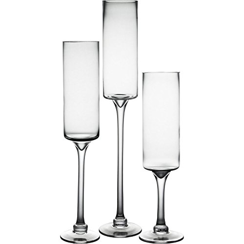 CYS Candle Holder Set of 3. Glass Pedestal Candle Holders in 3 Different Heights