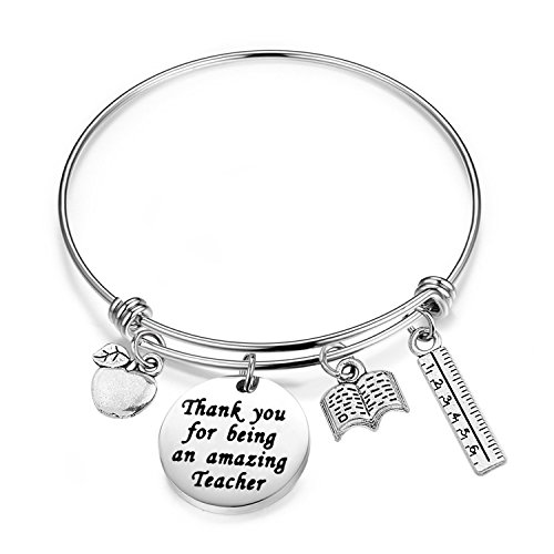 - bobauna Teacher Bracelet With Apple Book Ruler Charms Thank You Appreciation Gifts for Teachers (Amazing teacher bracelet)