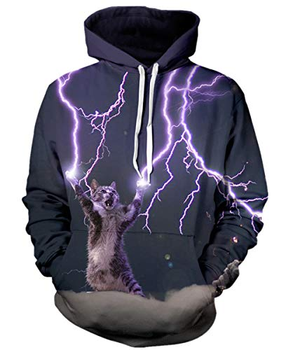 GLUDEAR Unisex 3D Cool Galaxy Cat Printed Hoodies Personalized Hooded Pullover Sweatshirt,L/XL,Lightning Cat
