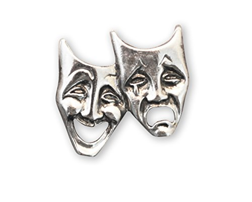 Comedy Tragedy Masks for Drama Theater and Actors Silver Finish Pewter Hat or Jacket Pin (Comedy Tragedy Drama Masks)