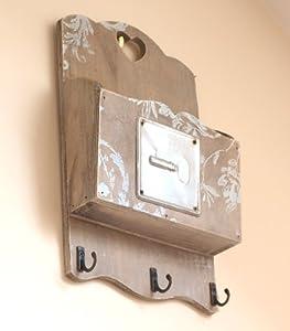 Key box key hook letter rack chic shabby style wall - Letter rack and key holder ...