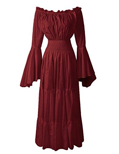 ReminisceBoutique Renaissance Medieval Dress Costume Mythic Mystic Forest Sword Mistress Chemise (Regular, -
