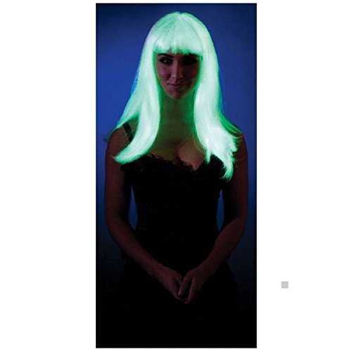 Kids Glow Afro Wig (Glow in the Dark Straight Wig Rave Costume Accessory Adult Halloween)