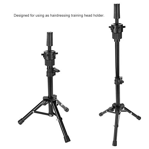 Mannequin Tripod, Portable Adjustable Wig Head Tripod Stand Holder for Hairdressing Makeup Beauty Salon Hair Cosmetology Mannequin Training Doll Model Head Stand (Black)
