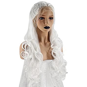 20eb99f91 Amazon.com : Anogol Hair Cap+White Braided Lace Front Wig With Baby Hair  Long Curly Wigs For Princess Hairstyles Fancy Dress : Beauty
