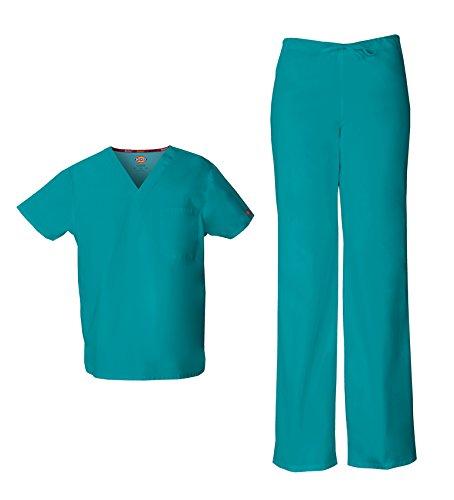 (Dickies EDS Signature Unisex V-Neck Scrub Top 83706 & Unisex Drawstring Scrub Pant 83006 Scrub Set (Teal Blue - Small/Small Short))