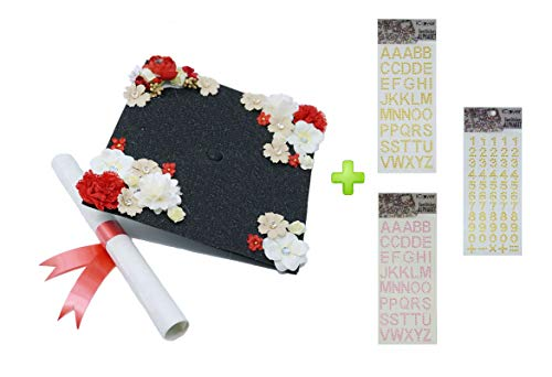 GradWYSE Handmade Graduation Cap Decorations Quick DIY Kit Three Adhesive Bling Stickers Graduation Gifts