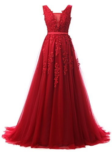 Linie Brautjungfer Cocktail Langes Abendkleid Tuell Damen Winerot EUDOLAH Kleid Party A Ballkleid wF1x0