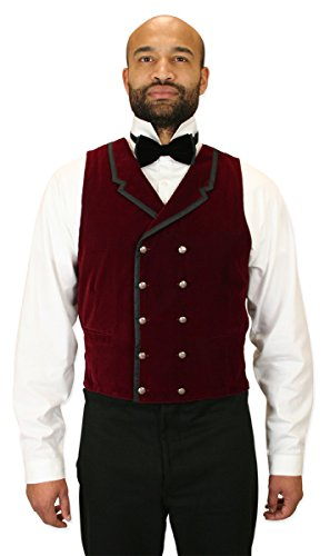 [Historical Emporium Men's Gramercy Velvet Dress Vest XL Burgundy] (Vampire Suit)