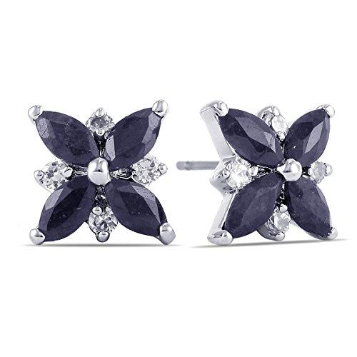 3.2 Carat Genuine Sapphire Marquise Cluster Earrings (Genuine Marquise Sapphire Ring)