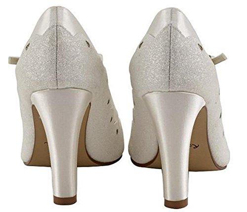 Rainbow Club Trixie - Block Heel Ivory Shimmer Mary-Jane Bridal Shoes dNh6jOF9V