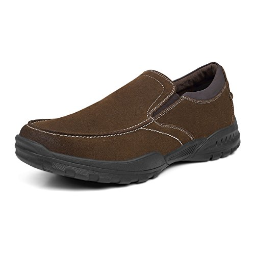 Men's Slip On Shoes Casual Suede Slip Resistant Memory Foam Walking ShoesBrown 10 (Slip Suede Loafers)