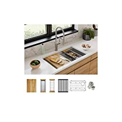 Kitchen Elkay EFRUAQ31169TWC Workstation Sink, 31-1/2″, 16 Gauge modern kitchen sinks
