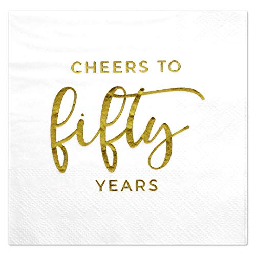 Andaz Press Cheers to 50, Funny Quotes Cocktail Napkins, Gold Foil, Bulk 50-Pack Count 3-Ply Disposable Fun Beverage Napkins for Birthday Party, Holiday, Thanksgiving, Christmas, New Year's Eve Bar ()