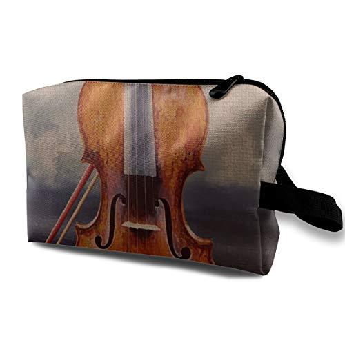 With Wristlet Cosmetic Bags Violin Music Time Travel Portable Makeup Bag Zipper Wallet Hangbag]()