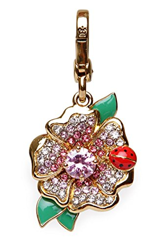 Juicy Couture Key Fob C - FLOWER W/ LADY BUG CHARM, Color: Gold-coloured, Size: One Size