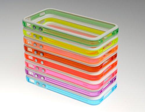SET 8 x Schutzhülle Case Cover Etui für iPhone 4G 4 G mit METALLBUTTON TRANSPARENT - Blau Lila Pink Rot Orange Rosa Gelb Grün - WEIS von HORNY PROTECTORS®