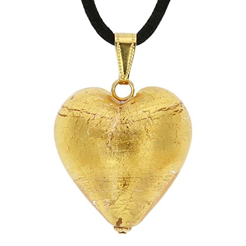 GlassOfVenice Murano Glass Heart Pendant - Rose Gold ()