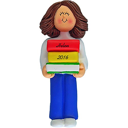 Reader Personalized Christmas Ornament - Girl - Brown Hair - Handpainted Resin - 4.5