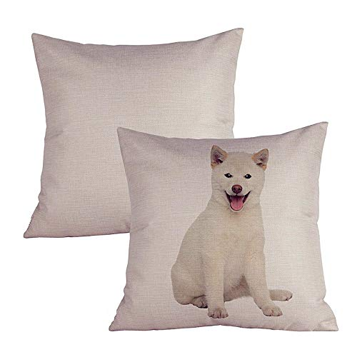 Acelive 18 X 18 Inches Square Cotton Linen White Shiba Inu Breed Series Decorative Pillowcase Cushion Cover for Sofa Throw Pillow Case