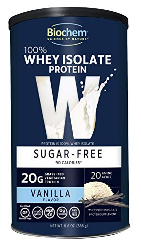Biochem 100% Whey Sugar Free Protein, Vanilla, 11.8 Ounce, Post Workout & Energy Support, Keto Friendly