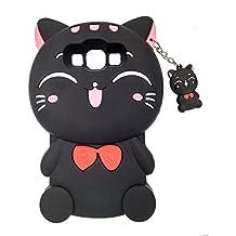 Samsung Galaxy A5 (2015) / E5 /J5 Case, BENKER Fashion Cute Cartoon Cat 3D Pattern [ Shockproof Design ] Soft Silicone Back Cover Phone Case - Black Cat