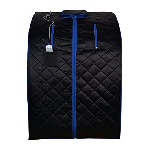 ALEKO PIN15BKBL Personal Folding Portable Home Infrared Sauna w/ Folding Chair and Foot Pad, Black w/ Blue Trim Color