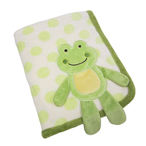 Koala Baby Super Soft Coral Fleece Baby Blanket, Green Frog Appliqued Coral Fleece, Green/Ivory/Yellow