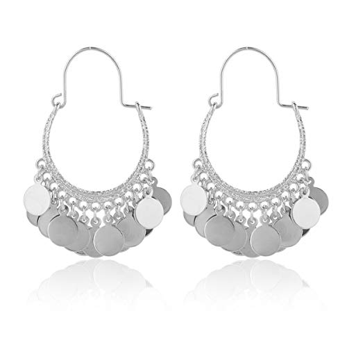 RIAH FASHION Bohemian Coin Dangle Chandelier Earrings - Lightweight Gypsy Filigree Hoops with Disc Charms (Gypsy Dangle 1 - Silver)