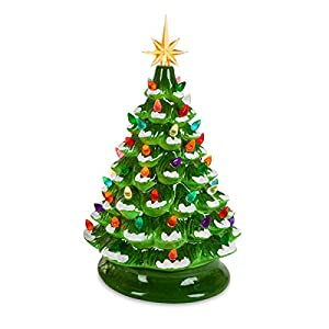 Green Ceramic Dolomite Christmas Tree - Optional Music Setting Batteries Included - Timer 48
