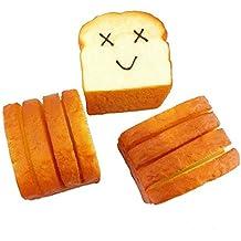 Fireboomoon Kawaii Jumbo Soft Slice Toast Random Expression Joy Smile Face Phone Card Holder Hand Pad Fun Toy